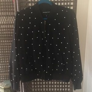 Who What Wear Black Bomber Jacket White Dots